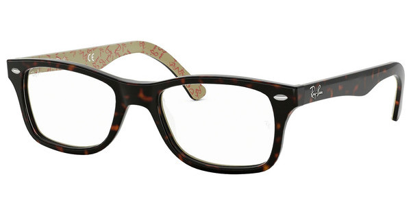 Ray-Ban RX5228 5057 TOP DARK HAVANA ON BEIGE TEXT