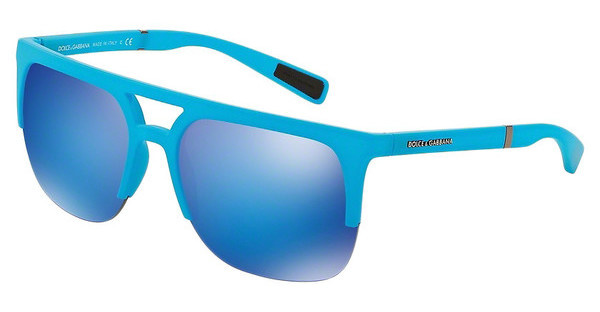 Dolce & Gabbana DG6098 301525 GREEN MIRROR LIGHT BLUEAZURE RUBBER
